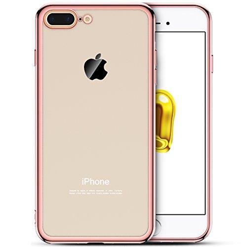 iPhone 7 Plus Hülle, Yokata Klar Weich Silicone Case mit Rose Gold Silikon Bumper Crystal Schutzhülle Durchsichtig Transparent Dünne Case Cover