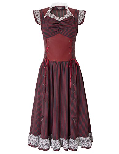 Women Girls Steampunk Victorian Costume Pirate Corset Dress High Low SL3-1 L]()