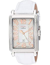 Avenue of Americas Stainless Steel Swiss Quartz Watch with Leather Calfskin Strap, White, 20 (Model: 9249RE)