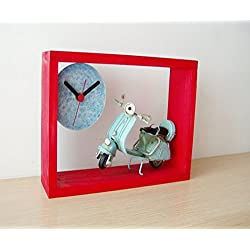 Blue Vespa red wood clock, red wooden clock for wall or desk