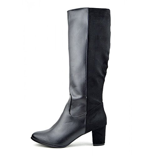Damen Womens Knee High Heeld, Schwarze Winter Stiefel Neu Damen Lange Zip-Up Stiefel Schwarz