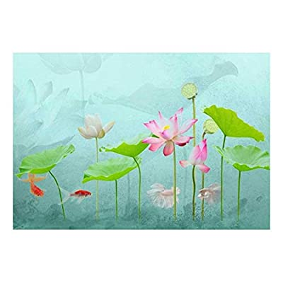 Under The Sea Water Lilies with Gold Fish and Vibrant Aqua Textured Background Wall Mural, Created By a Professional Artist, Gorgeous Composition