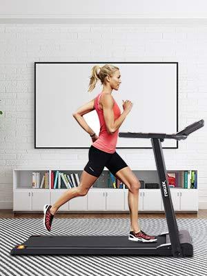 LONTEK Cinta de Correr Plegable Eléctrica con Pantalla LCD, Máquina Fitness Silenciosa Motor hasta 10km/h con 12 Programas de Entrenamiento – P5