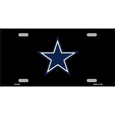 Cowboys Blue Star on Black Football Car License Plate: Automotive