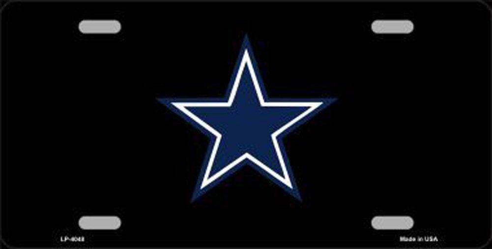 Cowboys Blue Star on Black Football Car License Plate