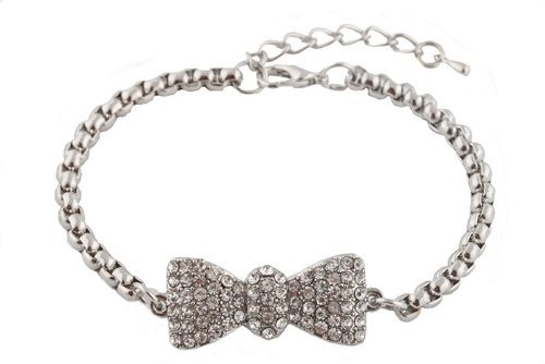 2 Pieces of Silvertone Iced Out Bow Tie Shamballah Box (Paparazzi Tie)