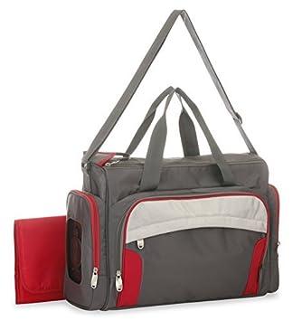 Chili Red Duffle bolsa de pañales con el Sistema Organizador inteligente, Gris / rojo