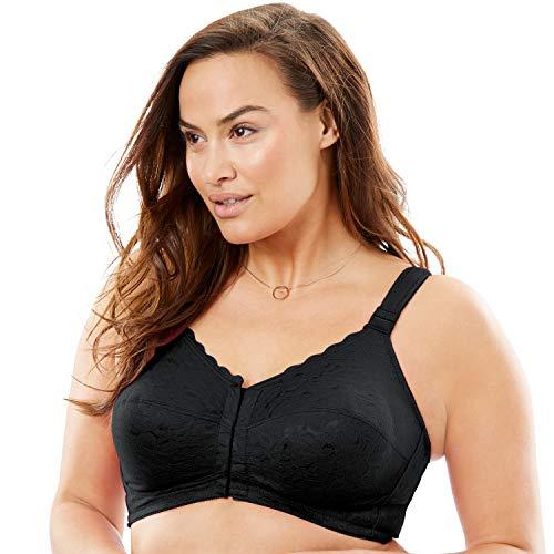 Comfort Choice Women's Plus Size Lace Wireless Posture Bra - Black, 48 DD