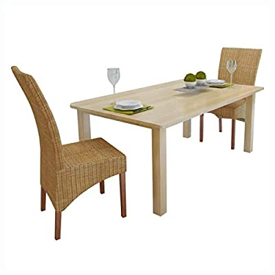 HomyDelight Kitchen & Dining Room Chair, Dining Chairs 2 pcs Rattan Brown