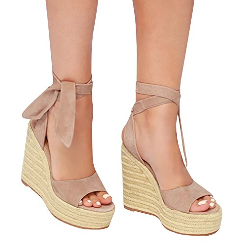 (Enjoybuy Womens Espadrille Wedge Sandals Ankle Tie Up Peep Toe Platform Shoes High Heel Sandals (6.5 B(M) US,)
