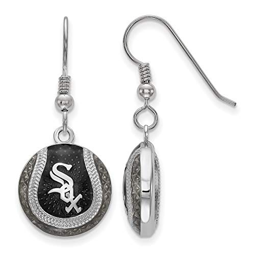 MLB Chicago White Sox Sterling Silver Chicago White Sox Domed Enameled Baseball Earrings Size One Size