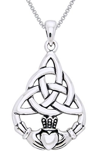 Jewelry Trends Celtic Triquetra Knot Claddagh Sterling Silver Pendant Necklace 18