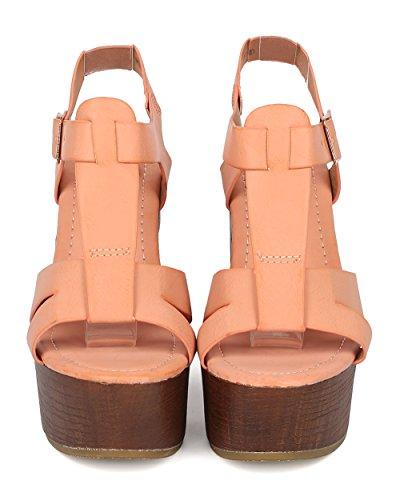 Alrisco Kvinnor Läder Blockera Häl Sandal - Peep Toe T-rem Plattform - Ha47 Från Dammig Rosa Konstläder
