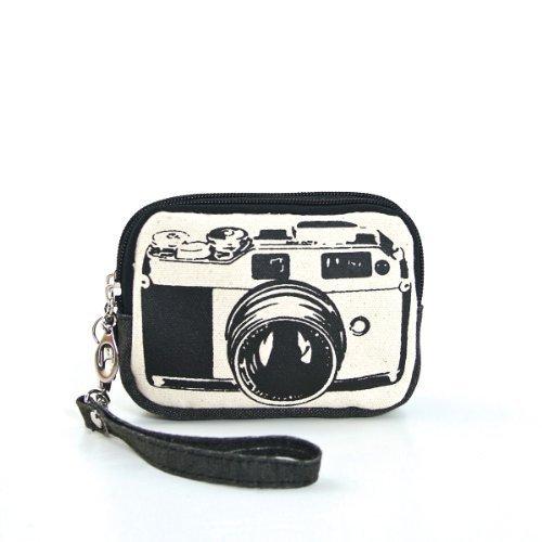 Stylish Film Camera Image Zippered Canvas Wallet Wristlet Coin Purse (Black)