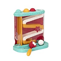 The pound & roll from Battat is sure to keep little ones busy for hours! have a ball with 4 colorful balls, 1 tower toy station, and 1 hammer toy! Place the balls in their color-coded sockets… and whack! See them roll down! See the little red Sta...