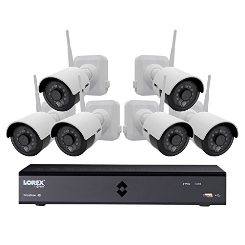Lorex 6-Channel Wire-Free Security System with 6x 1080p High Definition Rechargeable Cameras with Bonus Extra Rechargeable Battery Pack by Lorex