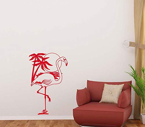 N.SunForest Flamingo Wall Decal Palm Tree Sun Vinyl Sticker Sea Decor Nautical Poster ()