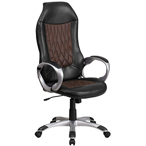Flash Furniture High Back Brown Fabric and Black Vinyl Executive Swivel Chair with Arms