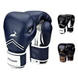 Trideer Pro Grade Boxing Gloves, Kickboxing Bagwork Gel Sparring Training Gloves, Muay Thai Style Punching Bag Mitts, Fight Gloves Men & Women (Midnight Blue, 16 oz)