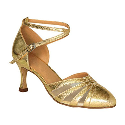 TDA Womens Colsed Toe Flared Heel Colorful Salsa Tango Ballroom Latin Modern Dance Wedding Shoes Gold oyMm7DayyC