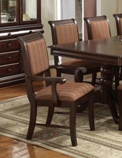 - Merlot Side Chair Stripe Cushion in Deep Brown Cherry Finish (Set of 2) by Crown Mark