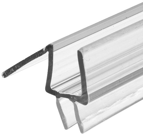 "Prime-Line M 6258 Frameless Shower Door Bottom Seal - Stop Shower Leaks and Create a Water Barrier (3/8"" x 36"", Clear Vinyl)"