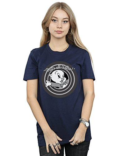 Looney Tunes Women's Porky Pig That's All Folks Boyfriend Fit T-Shirt Small Navy Blue