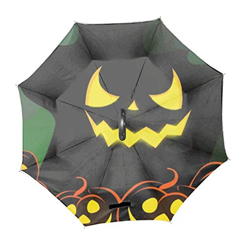 Scary Halloween Double Layer Inverted Umbrella, Self Stand Upside-Down Rain Protection Car Reverse Umbrellas