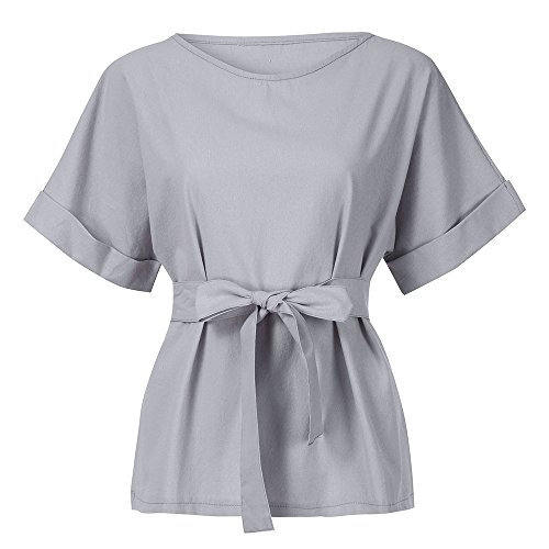 Tunic Blouse for Women Loose tops Casual Kimono V-Neck Cotton Linen Top With Tie Belt