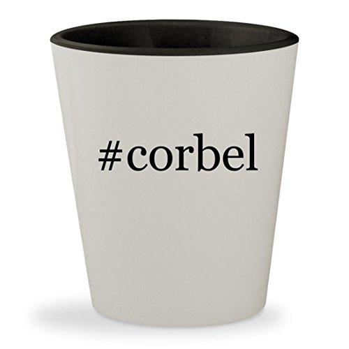 #corbel - Hashtag White Outer & Black Inner Ceramic 1.5oz Shot Glass - Mission Oak Oak Game Table