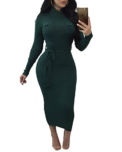 Green Color Long Coolred Maxi Sleeve Sexy Women Fall Dress Spring Long Solid 0qIw17PO
