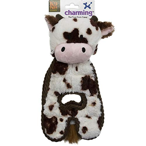 CHARMING Pet Cuddle Tugs Plush Dog Toy - Tough and Durable Interactive Soft Animal Squeaky Tug Toy, Cow