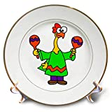3dRose All Smiles Art - Music - Cute Funny Rubber Chicken Shaking Maracas Cartoon - 8 inch Porcelain Plate (cp_293160_1)