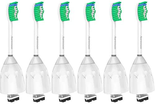 Replacement Toothbrush Heads for Philips Sonicare E-Series HX7022/66, 6pack, Fit Sonicare Essence, Xtreme, Elite, Advance, and CleanCare Electric Toothbrush with Hygienic caps through Aoremon