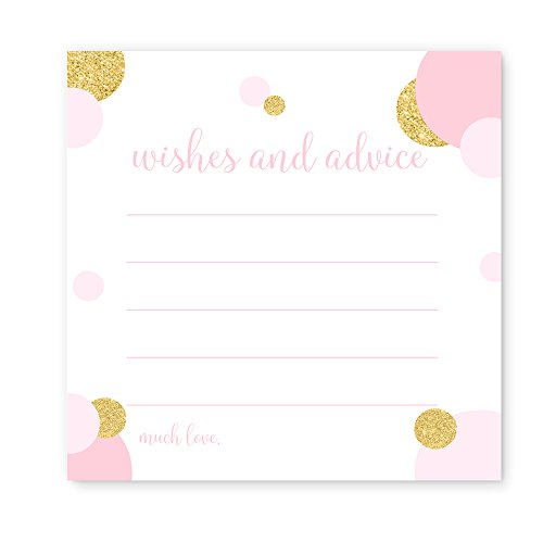 Baby Shower Game Pack (Advice and Wishes Baby Shower Game Card Pack of 25 Blush and Gold Dot)