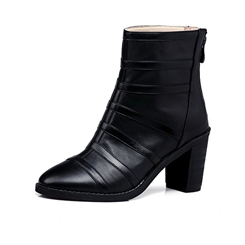 Round Closed Zipper Womens Black Solid Toe Low Boots Heels High top AllhqFashion wxqZUTaq