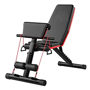 Adjustable Weight Bench, Foldable Flat/Incline/Decline Benches Press with Bands, Strength Training Benches for Sit Up, Bench Press, Leg Press Machines for Home Use
