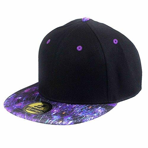 [Purple Black Galaxy Adjustable Baseball Cap ,Unisex Hip Hop Snapback Plaid Flat Bill Brim Hats] (Trucker Girl Costume)