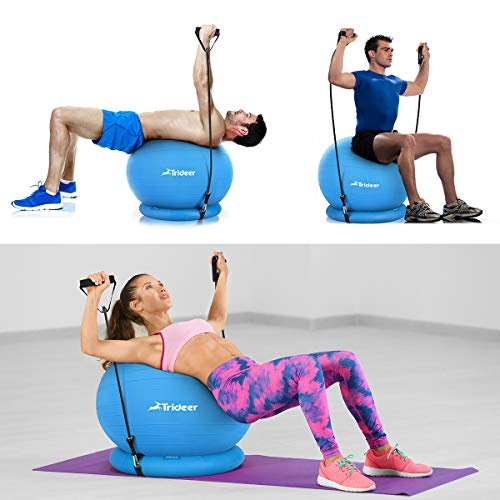 Trideer Ball Chair, Exercise Stability Yoga Ball with Base & Resistance Bands for Home and Office Desk, Flexible Ball Seat with Pump, Improves Balance, Core Strength & Posture (Dark Blue, 65cm) by Trideer (Image #7)