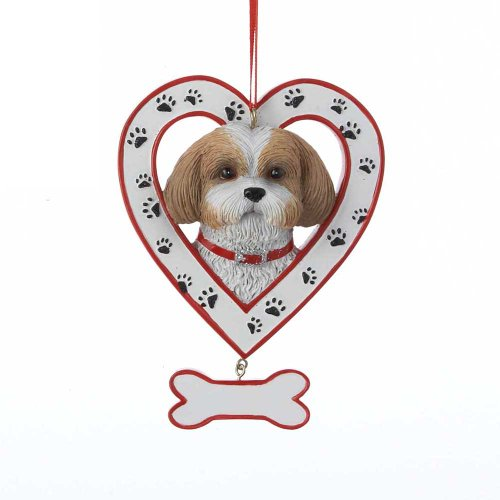 Shih Tzu in Paw Print Heart with Dog Bone Christmas Ornament