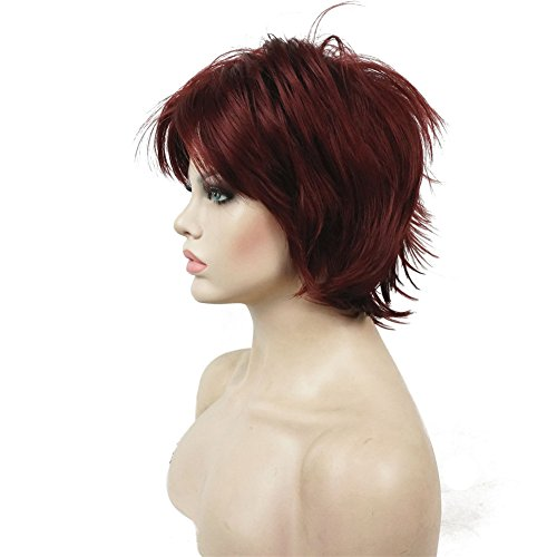 Lydell Short Layered Shaggy Full Synthetic Wig Wigs #131 Burgundy Red (Synthetic Wig Full)