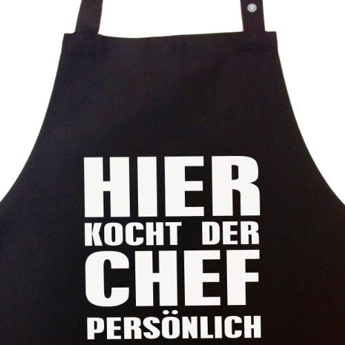 Hier kocht der Chef persönlich - Kochschürze, Grillschürze, Latzschürze mit verstellbarem Nackenband und Seitentasche