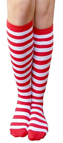AM Landen Women's Casual White and Red Small Stripes Knee High Socks Girls - Socks High Candy Stripe Knee