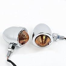 2x Chrome Amber Turn Signal Lights 10mm Motorcycle Chopper Bobber Rat Rod Cruisers