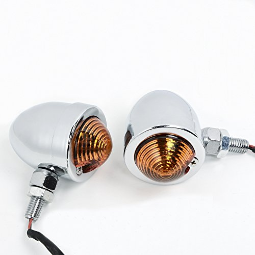 2x Chrome Amber Turn Signal Lights 10mm Motorcycle Chopper Bobber Rat Rod (Hot Rod Turn Signals)