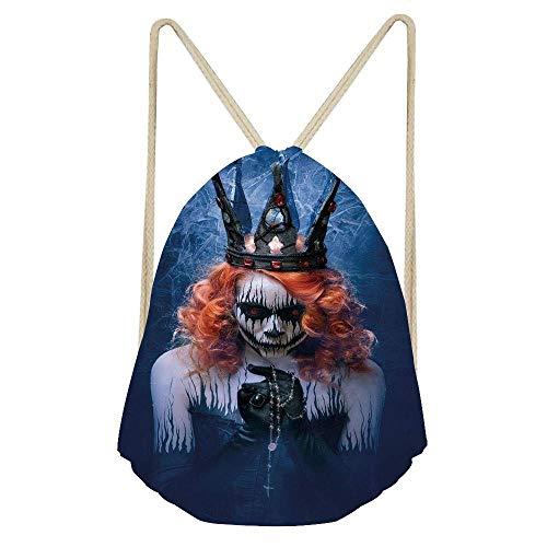 (Queen of Death Scary Body Art Halloween Evil Face Bizarre Make Up Zombie,Navy Blue Orange Black Gym Sack Bag Drawstring Backpack Sport Bag for Men & Women School Travel)