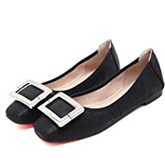 Women Fashion Ballet Flat Shoes Buckle Leisure PU Comfortable Soft Ladies Non Slip Round Toe Loafers              Item Type:Flats       Department Name:Adult       Pattern Type:Solid       Occasion:Casual       Closure Type:Sl...