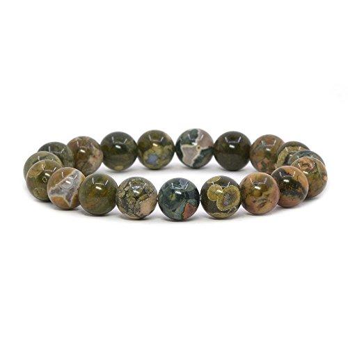 - Natural Rhyolite Jasper Gemstone 10mm Round Beads Stretch Bracelet 7