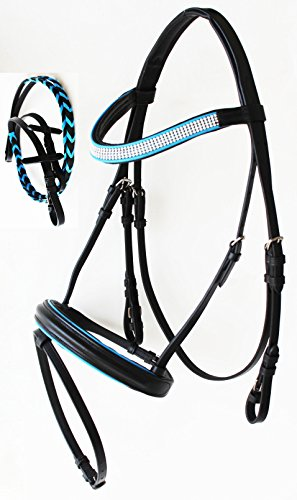 Horse English Bridle Leather Padded Adjustable Tack Rein FULL Turquoise 803RS02F Adjustable Rein