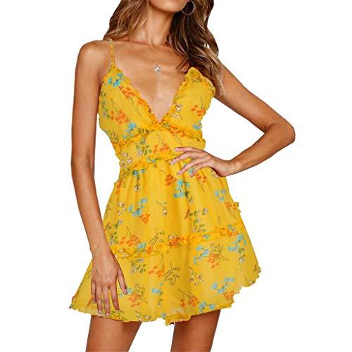 Women's Summer V Neck Ruffle Floral Print Maxi Sling Casual Loose Mini Dress -